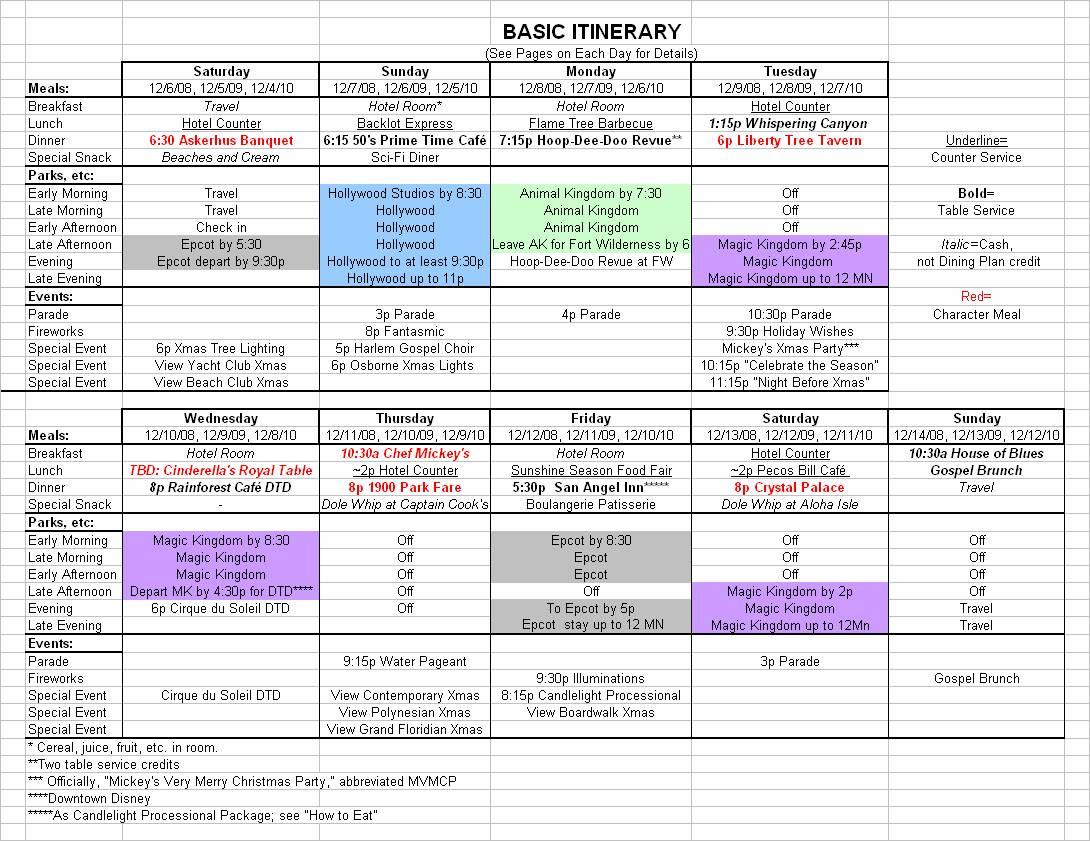 Calendar Itinerary Planner : Basic walt disney world vacation itinerary planning your